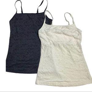 2x Flexees Lace Shape Wear Tank Top Black Ivory L